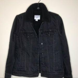 Old Navy Black Sherpa Jean Jacket